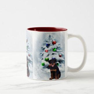 Rottweiler Christmas Gifts Two-Tone Coffee Mug