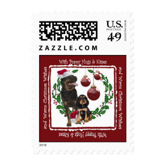 Rottweiler Christmas Hugs & Kisses Postage Stamp 3
