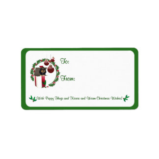 Rottweiler Christmas Wishes Gift Tag Stickers #2 Label