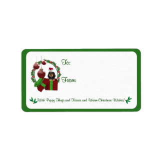 Rottweiler Christmas Wishes Gift Tag Stickers #3 Label