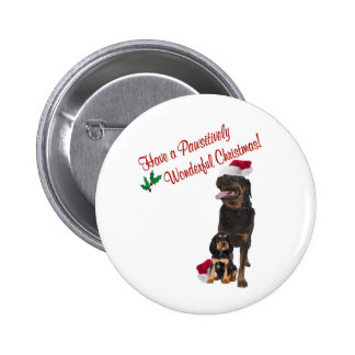 Rottweiler Christmas Wishes Pinback Button