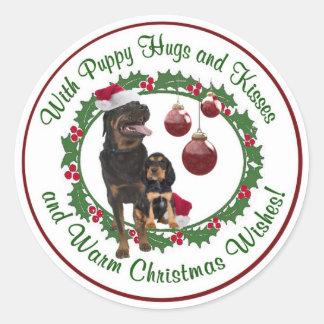 Rottweiler Christmas Wishes Round Seals Classic Round Sticker