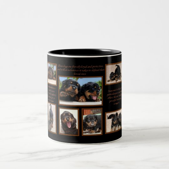 Rottweiler Collage with Text Two-Tone Coffee Mug