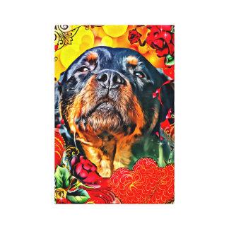 Rottweiler con los corazones - arte de la lona - p impresiones en lienzo estiradas