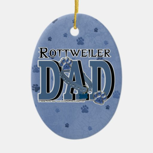 Rottweiler DAD Christmas Tree Ornament