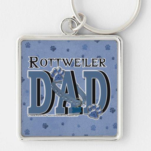 Rottweiler DAD Silver-Colored Square Keychain