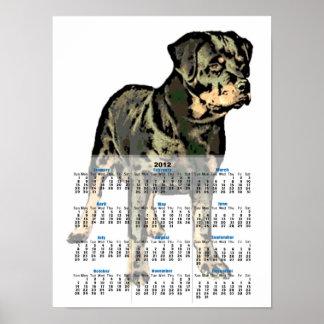 Rottweiler dog 2012 calendar poster