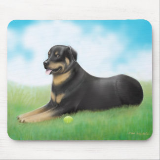 Rottweiler Dog and His Ball Mouse Pad