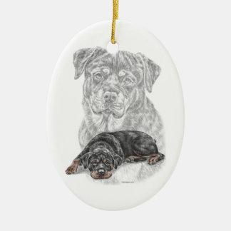 Rottweiler Dog Art Ceramic Ornament