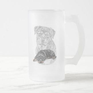 Rottweiler Dog Art Frosted Glass Beer Mug