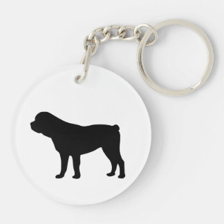 Rottweiler dog beautiful black silhouette, gift keychain
