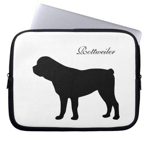 Rottweiler dog black silhouette laptop bag laptop sleeve