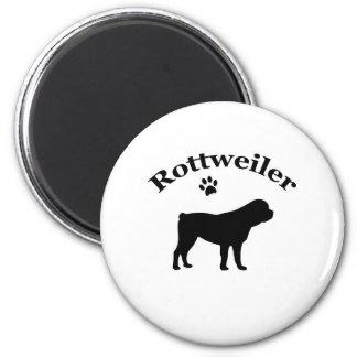 Rottweiler dog black silhouette paw print magnet