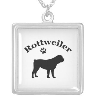 Rottweiler dog black silhouette paw print necklace