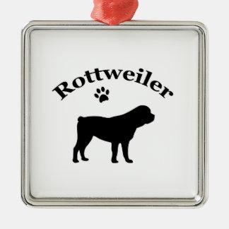Rottweiler dog black silhouette paw print ornament