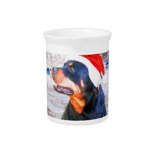 Rottweiler Dog Christmas Painting Drink Pitcher