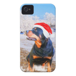 Rottweiler Dog Christmas Painting iPhone 4 Case-Mate Case