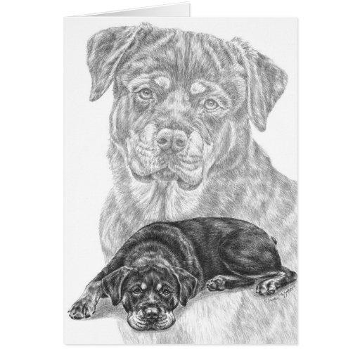 Rottweiler Dog Drawing by Kelli Swan Greeting Cards