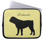 Rottweiler dog green & pink stripes laptop bag laptop sleeves