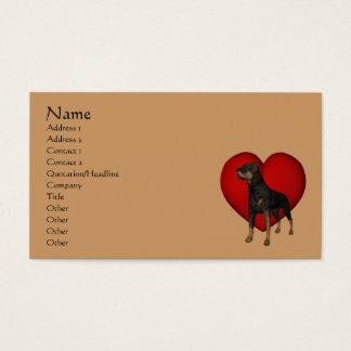 Rottweiler Dog Red Heart Animal Business Card