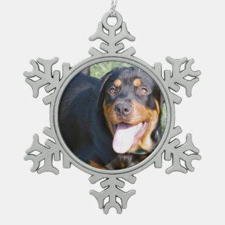 Rottweiler Dog Snowflake Pewter Christmas Ornament