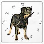 Rottweiler dog square clock