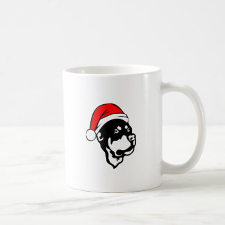 Rottweiler Dog wearing Red Christmas Santa Hat Coffee Mug