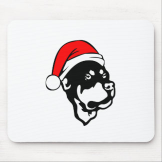 Rottweiler Dog wearing Red Christmas Santa Hat Mouse Pad