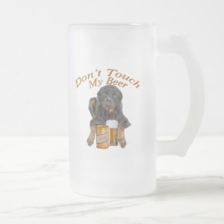 Rottweiler Don't Touch My Beer Frosted Glass Beer Mug