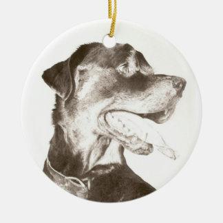 Rottweiler Drawing Canine Art Portrait Ornament