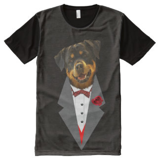 Rottweiler Dressed in a Tuxedo Design All-Over-Print T-Shirt