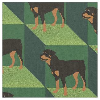 Rottweiler en los cubos verdes telas
