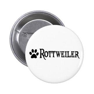 Rottweiler (estilo del pirata con el pawprint) pin redondo de 2 pulgadas