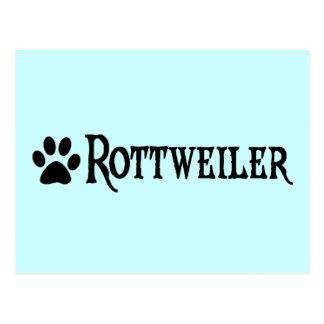 Rottweiler estilo del pirata con el pawprint postal