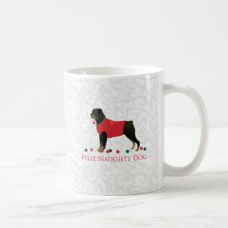 Rottweiler Feliz Naughty Dog Christmas Design Coffee Mug