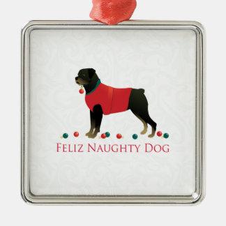 Rottweiler Feliz Naughty Dog Christmas Design Metal Ornament