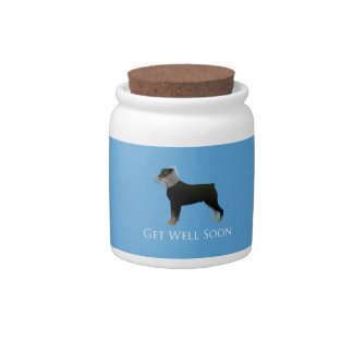 Rottweiler Get Well Soon Design Candy Dishes