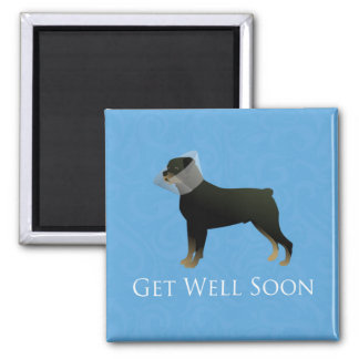 Rottweiler Get Well Soon Design 2 Inch Square Magnet
