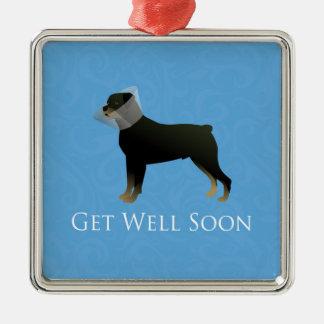 Rottweiler Get Well Soon Design Metal Ornament
