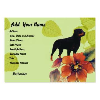 Rottweiler ~ Green Leaves Design Large Business Cards (Pack Of 100)
