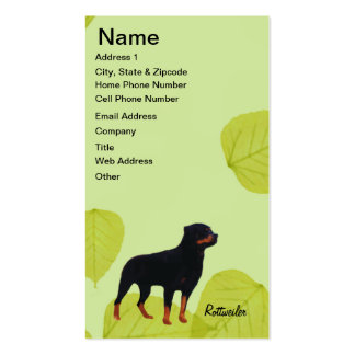 Rottweiler ~ Green Leaves Design Double-Sided Standard Business Cards (Pack Of 100)