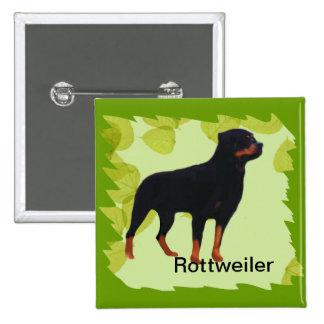 Rottweiler ~ Green Leaves Design Button