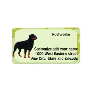 Rottweiler ~ Green Leaves Design Label