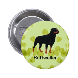 Rottweiler ~ Green Leaves Design Pinback Button