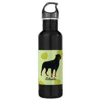 Rottweiler ~ Green Leaves Design Stainless Steel Water Bottle