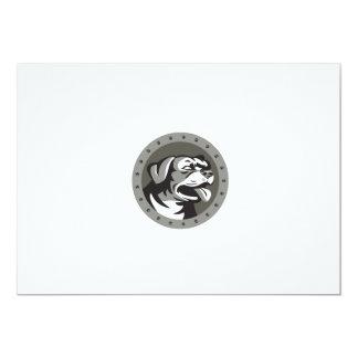 Rottweiler Guard Dog Head Metallic Circle Retro Card
