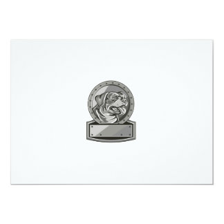 Rottweiler Guard Dog Shield Metallic Circle Retro Card
