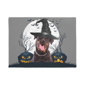 Rottweiler Halloween Pumpkin Patch Doormat