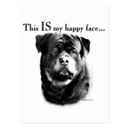 Rottweiler Happy Face Postcard