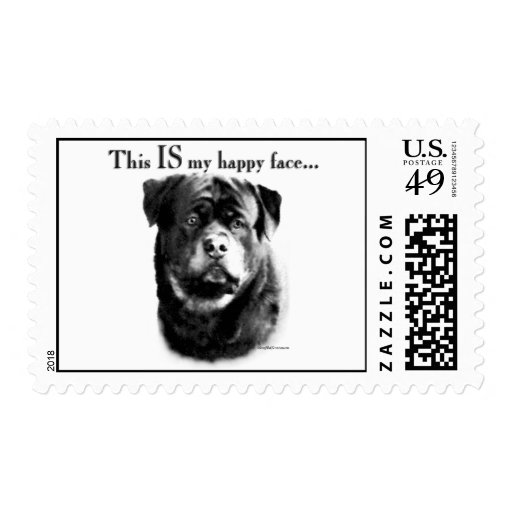 Rottweiler Happy Face Stamps